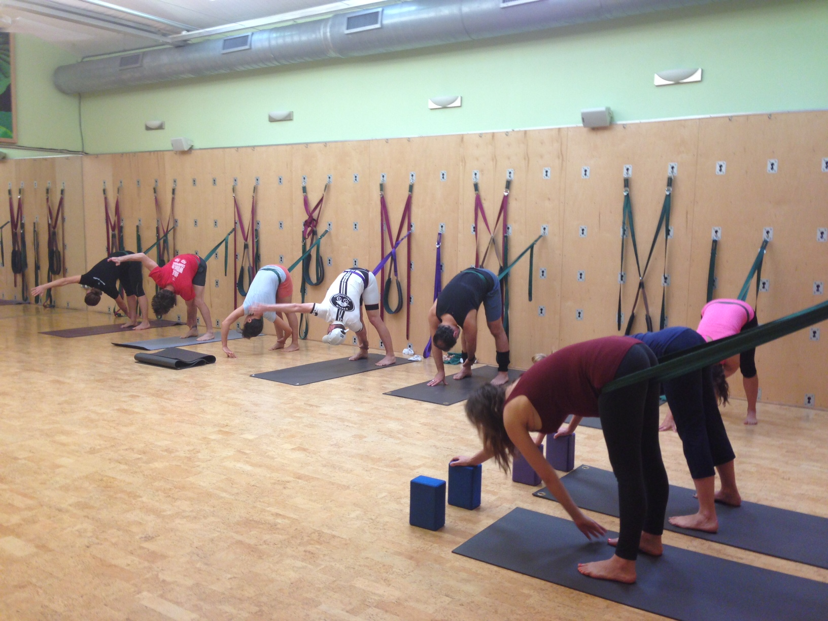 Yoga Wall class led by Castle Hill instructor Gillian Barksdale
