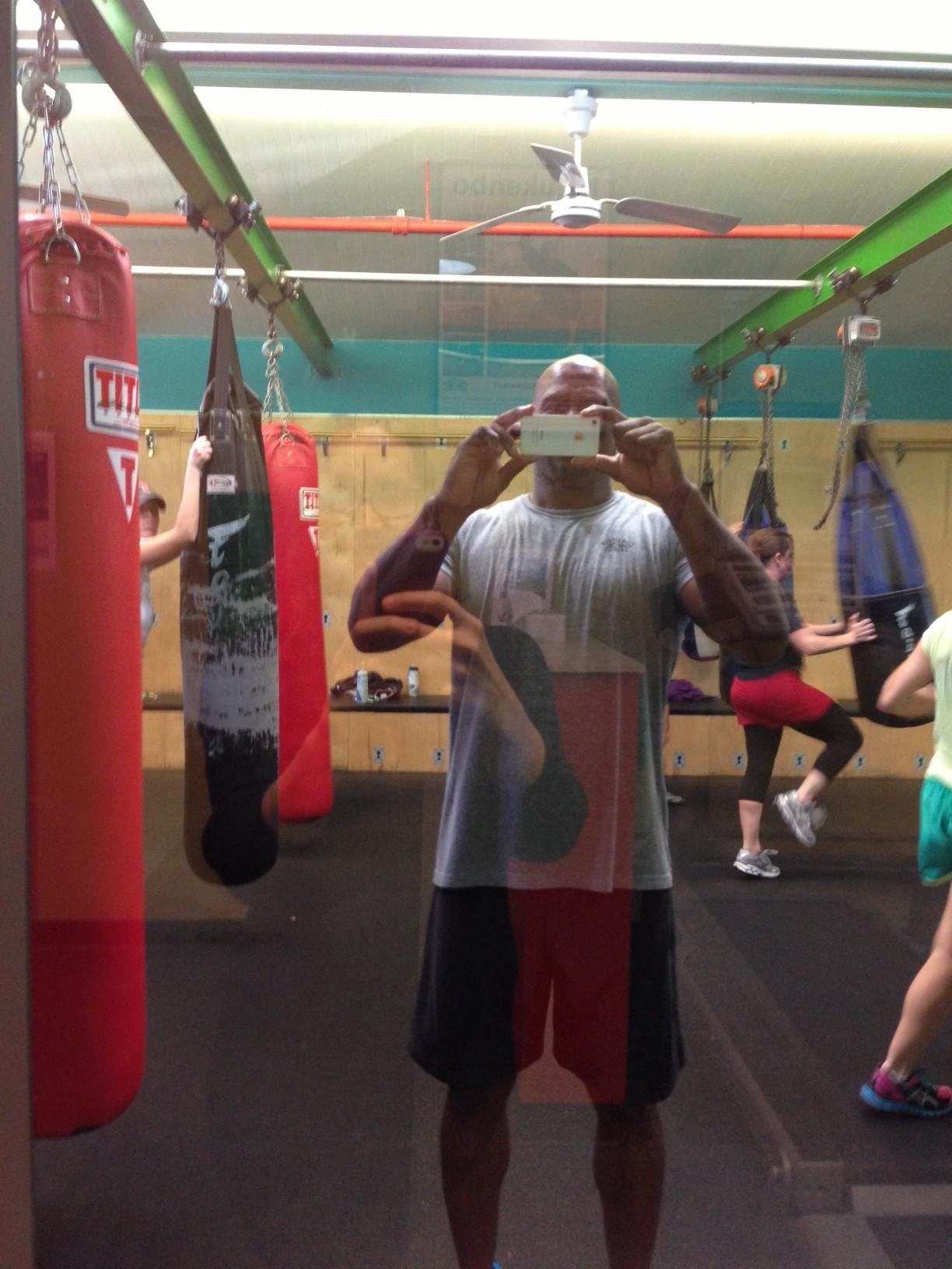 Robert leading the Cardio Kickbox class
