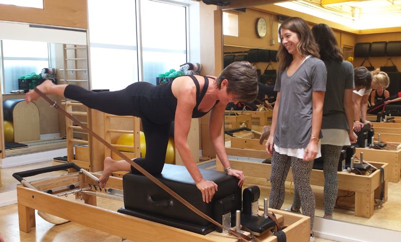 Doing Pilates with instructor Stephanie Wright