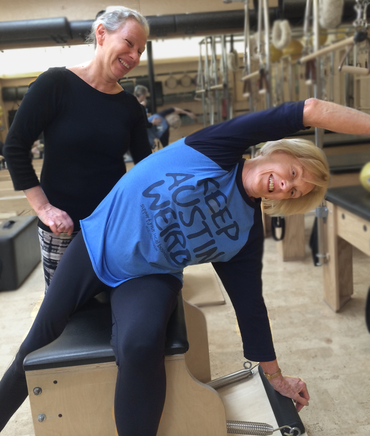 Gail and Desi working out