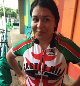 Super Sandra was a Super Commuter today - love the slick hairdo, Sandra! - Bike to Work Austin 2015