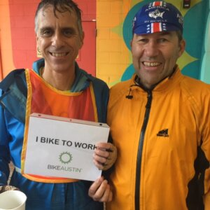 These guys took the DAY OFF from work, but still did their part to pedal the city even in the strongest of storms. Bike to Work Austin 2015