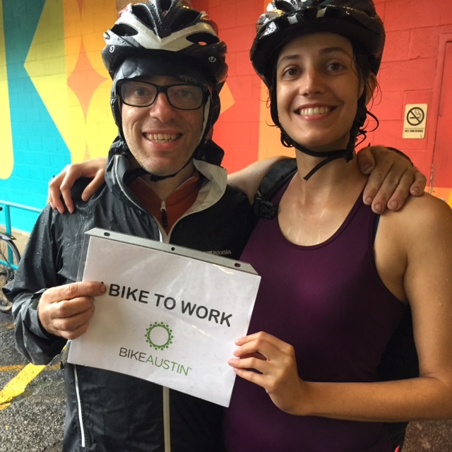 These two are celebrating their anniversary! They make a tradition of Bike to Work Day each year to celebrate.  Bike to Work Austin 2015