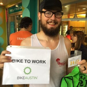 Meet Eric! Eric rode to each of the morning fueling stations and collected all 8 of his passport stamps! Way to go, Eric!   Bike to Work Austin 2015