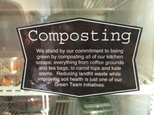 Composting Label at Food for Fitness Cafe