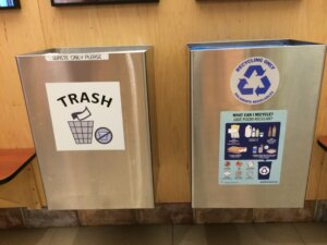 Recycling and Waste bins at the gym