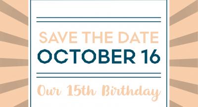 15th Anniversary Celebration – Mon, Oct 16
