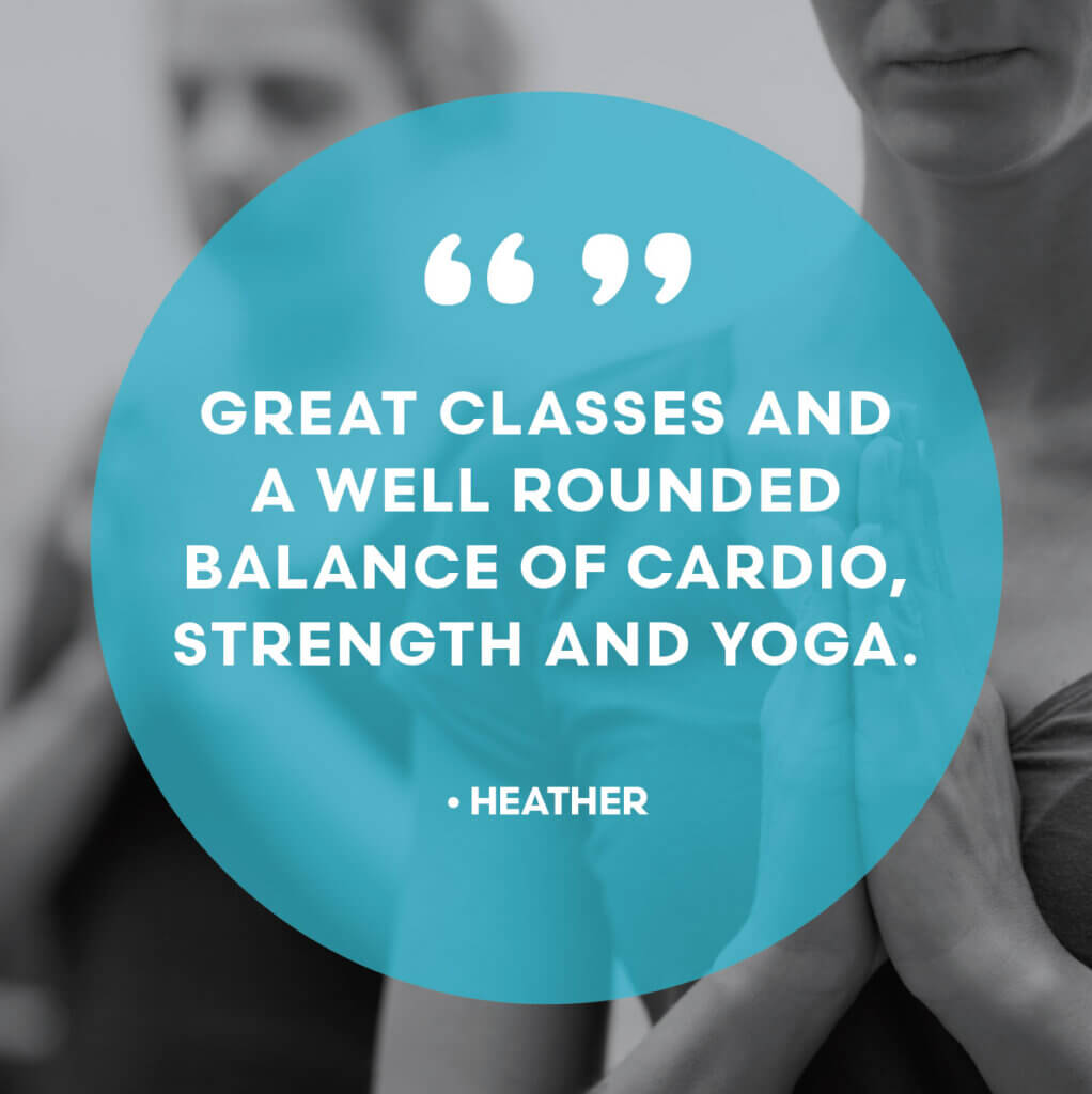 Great classes and a well-rounded balance of cardio, strength and yoga.