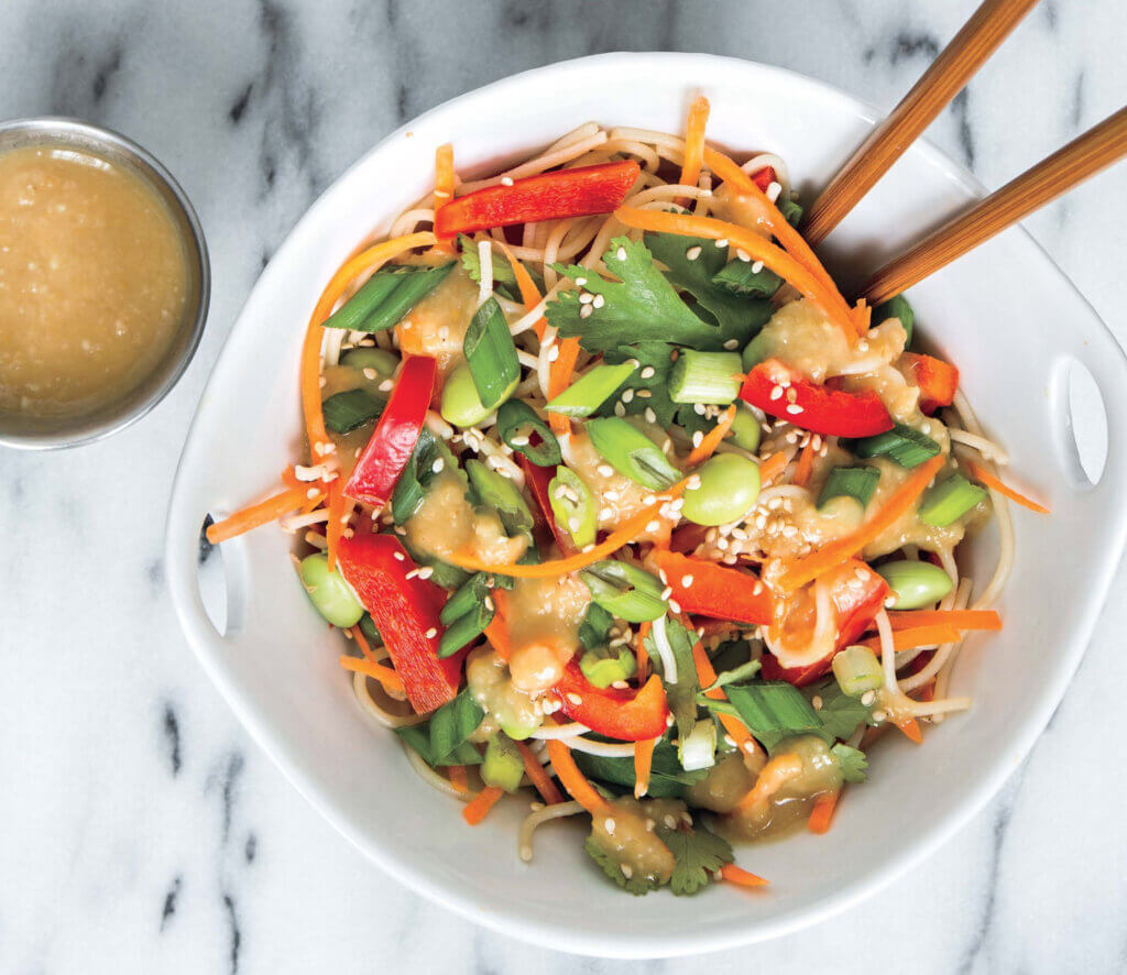 Healthy Cookbooks Featuring Photo of Vegan Noodle Bowl
