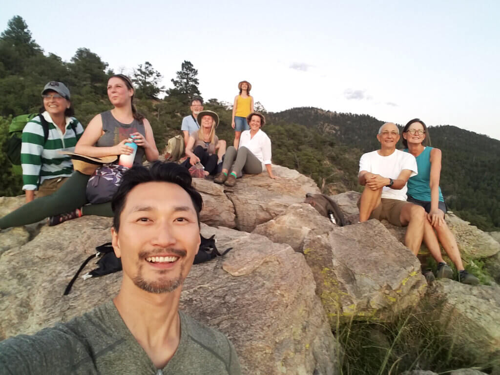 Anna and Jae Hoon Pilates and Yoga retreat- Group Photo on the mountains