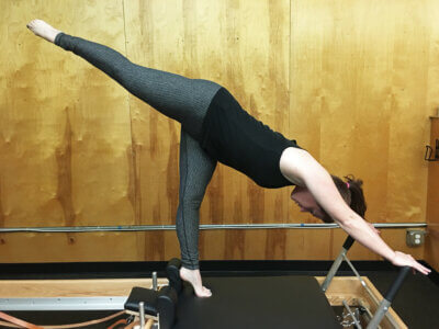Lindsay Lark on the Pilates Equipment