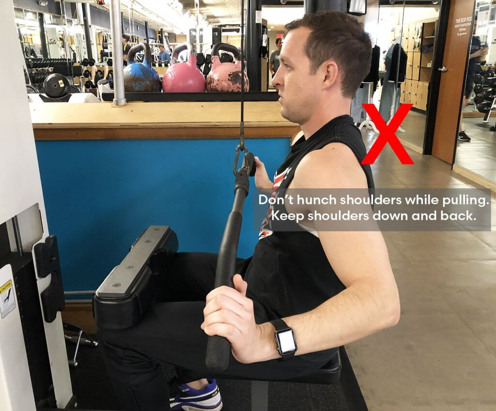 Bad Variation of Fifth Step of Lat Pull Down Exercise with Keith Kohanek - Don't let shoulders come up while pulling bar down.