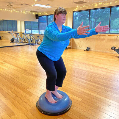 Laurie Rourke-Korpi Balancing on a Bosu Ball